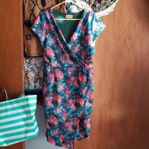 Lindy Bop teal jaguar wiggle dress 10